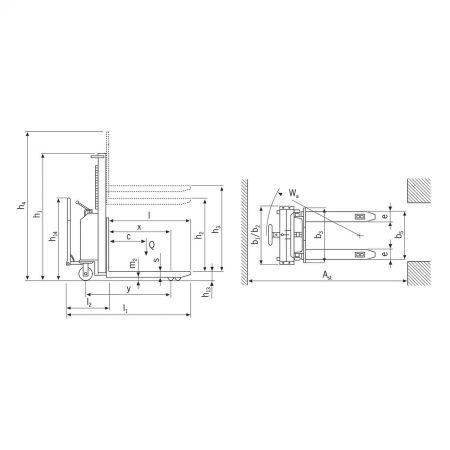 Штабелёр с электрогидравлическим приводом подъёма и ручным передвижением EHH PS