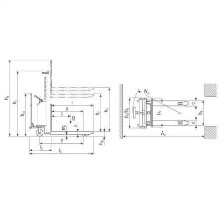 Штабелёр с электрогидравлическим приводом подъёма и ручным передвижением EHH PSE