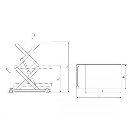 Тележка с ножничной подъёмной платформой, с двойными ножницами HF...DM/HF...DE