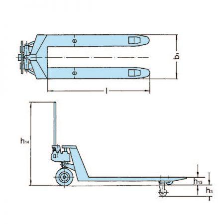 Ручная паллетная тележка с плоскими вилами HU 15–115 FTP PROLINE