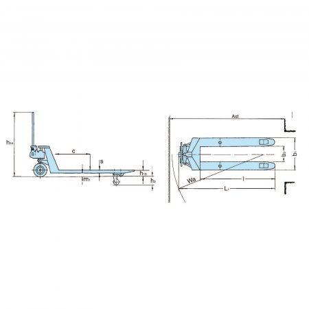 Ручная паллетная тележка - стандартный ряд HU 25–115 TS/ES SILVERLINE