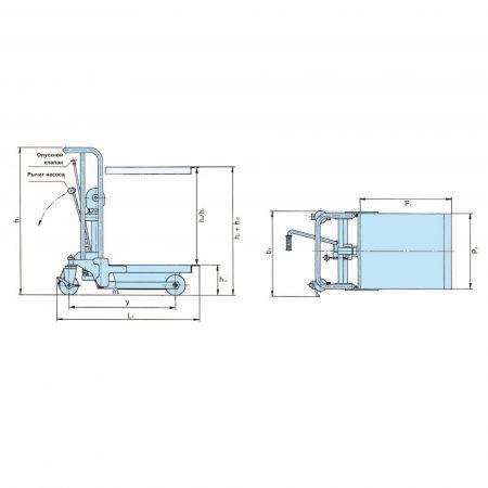 Тележка с подъёмной платформой ножной гидравлический подъём PRAKTIKUS HP