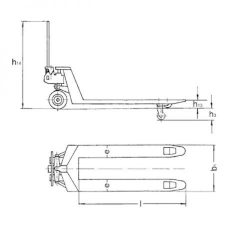 Ручная паллетная тележка со стояночным тормозом PROLINE
